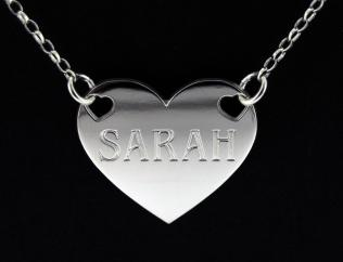 Platinum Plated Valentine Heart Personalised Name Tag photo 1