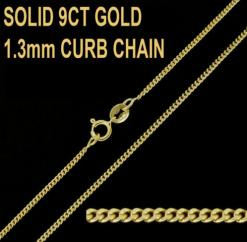 9ct Yellow Gold 1.3mm Curb Chain