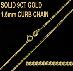 9ct Yellow Gold 1.5mm Curb Chain