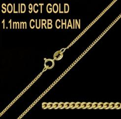 9ct Yellow Gold 1.1mm Curb Chain