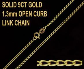 9ct Yellow Gold 1.3mm Open Curb Chain