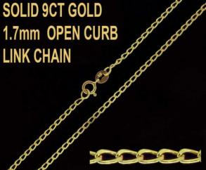9ct Yellow Gold 1.7mm Open Curb Chain