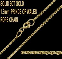9ct Yellow Gold 1.3mm English Prince Of Wales Rope Chain