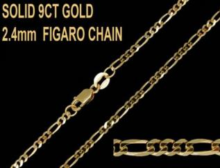 9ct Yellow Gold 2.4mm Figaro Chain