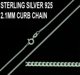 925 Sterling Silver 2.1mm Curb Chain