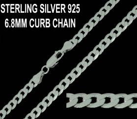 925 Sterling Silver 6.8mm Flat Curb Chain