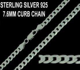 925 Sterling Silver 7.6mm Flat Curb Chain