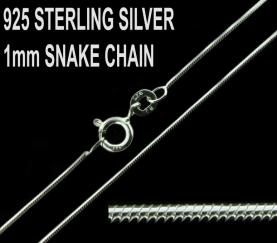 925 Sterling Silver 1mm Snake Chain