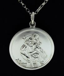 Sterling Silver Large Round  St Christopher Pendant photo 1