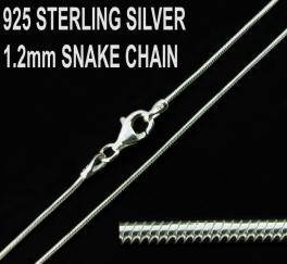 925 Sterling Silver 1.2mm Snake Chain