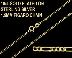 18ct Gold Plated on 925 Sterling Silver 1.9mm Figaro Chain