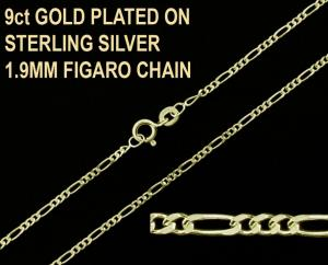 9ct Gold Plated on 925 Sterling Silver 1.9mm Figaro Chain