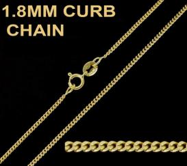 18ct Gold Plated on 925 Sterling Silver 1.8mm Curb Chain
