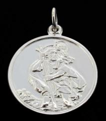 0.925 Sterling Silver Double Sided St Christopher Pendant photo 1