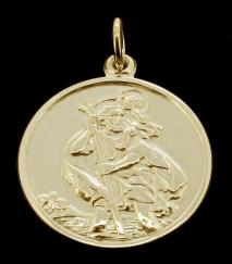 18ct Gold Plated on 0.925 Sterling Silver Double Sided St Christopher Pendant 20mm photo 1