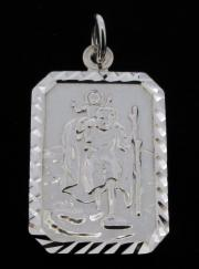 0.925 Sterling Silver Small Diamond Cut St Christopher Pendant photo 1
