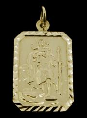 9ct Gold Plated on 0.925 Sterling Silver Small Diamond Cut St Christopher Pendant 22mm x 15mm photo 1