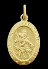 9ct Solid Gold 21x16mm Oval Satin St Christopher Pendant photo 1