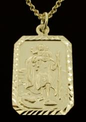 9ct Solid Gold 26x18mm Diamond Cut Rectangle St Christopher Pendant photo 1