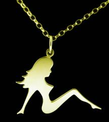 18ct Gold Plated Mud Flap Girl Pendant