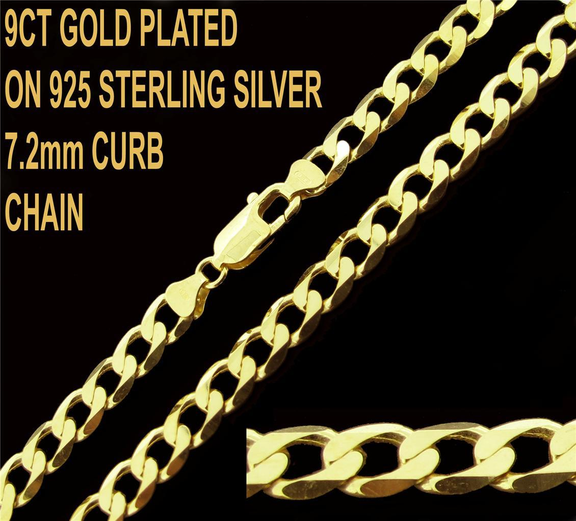 9ct Gold Plated On 925 Sterling Silver 7 2mm Curb Chain