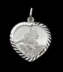 Sterling Silver Heart St Christopher 22mm x 19mm photo 1